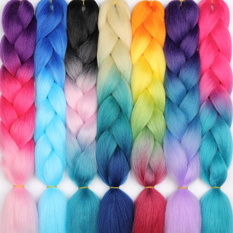 LISI HAIR Ombre Color Kanekalon Jumbo Braids 24inch 100g synthetic braiding hair High Temperature Fiber