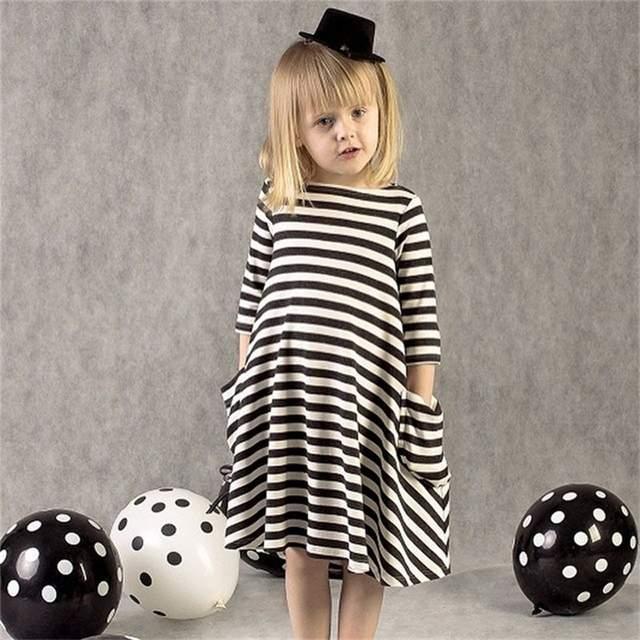 e0eb218cde7b Online Shop Winter Kid Baby Long Sleeve Stripe Dress Little Girl ...