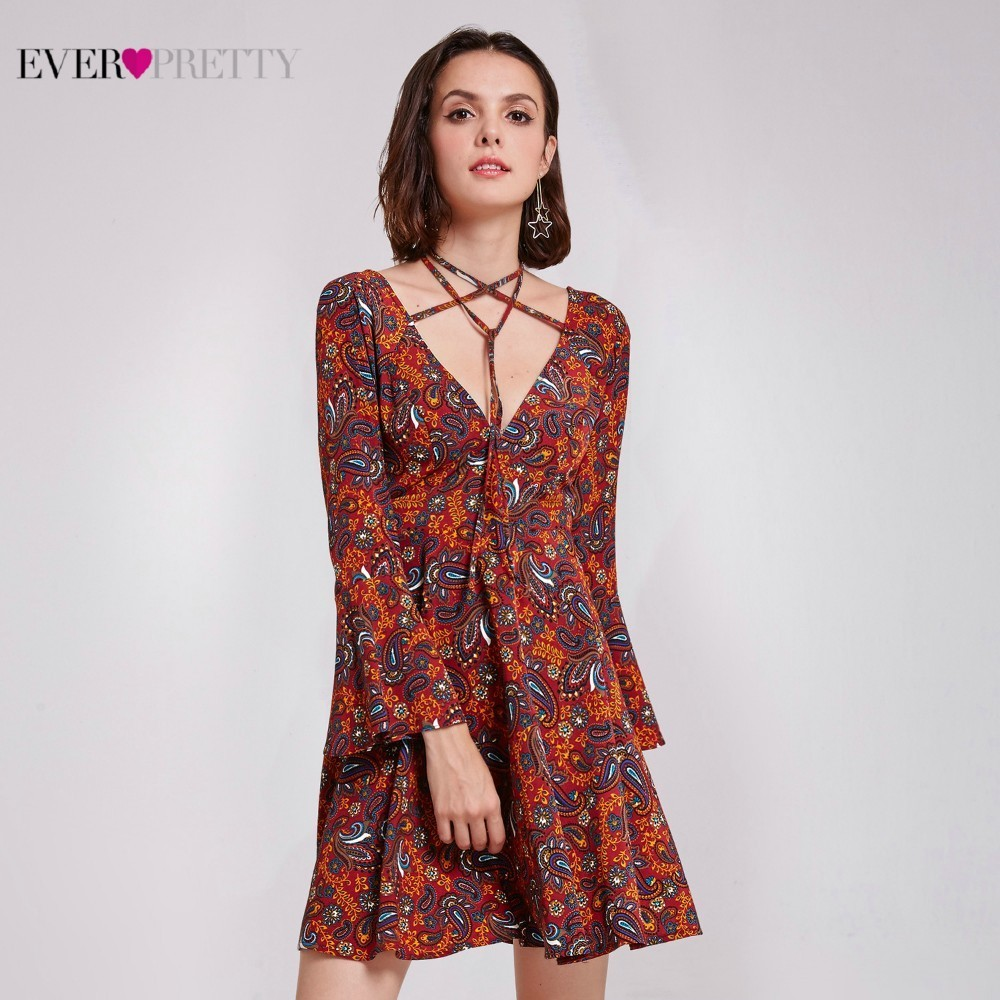 Burgundy   Cocktail     Dresses   Ever Pretty AS05757BD A-LIne Double V-Neck Sexy Women Summer Holiday Party   Dresses   Vestido   Cocktail