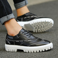New Spiring Autumn Fashion Round Toe Lace Up High Quality PU Classic Height Increasing Style Rubber Sole Men's Oxfords Shoes