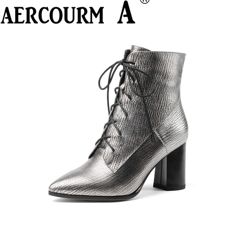 Aercourm A 2017 Ankle Boots Women High Quality Genuine Leather Boots Handmade Boots Plush Winter Zipper Pointed Lace Boots Z963 de la chance winter women boots high quality female genuine leather boots work