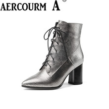 Aercourm A 2017 Ankle Boots Women High Quality Genuine Leather Boots Handmade Boots Plush Winter Zipper Pointed Lace Boots Z963