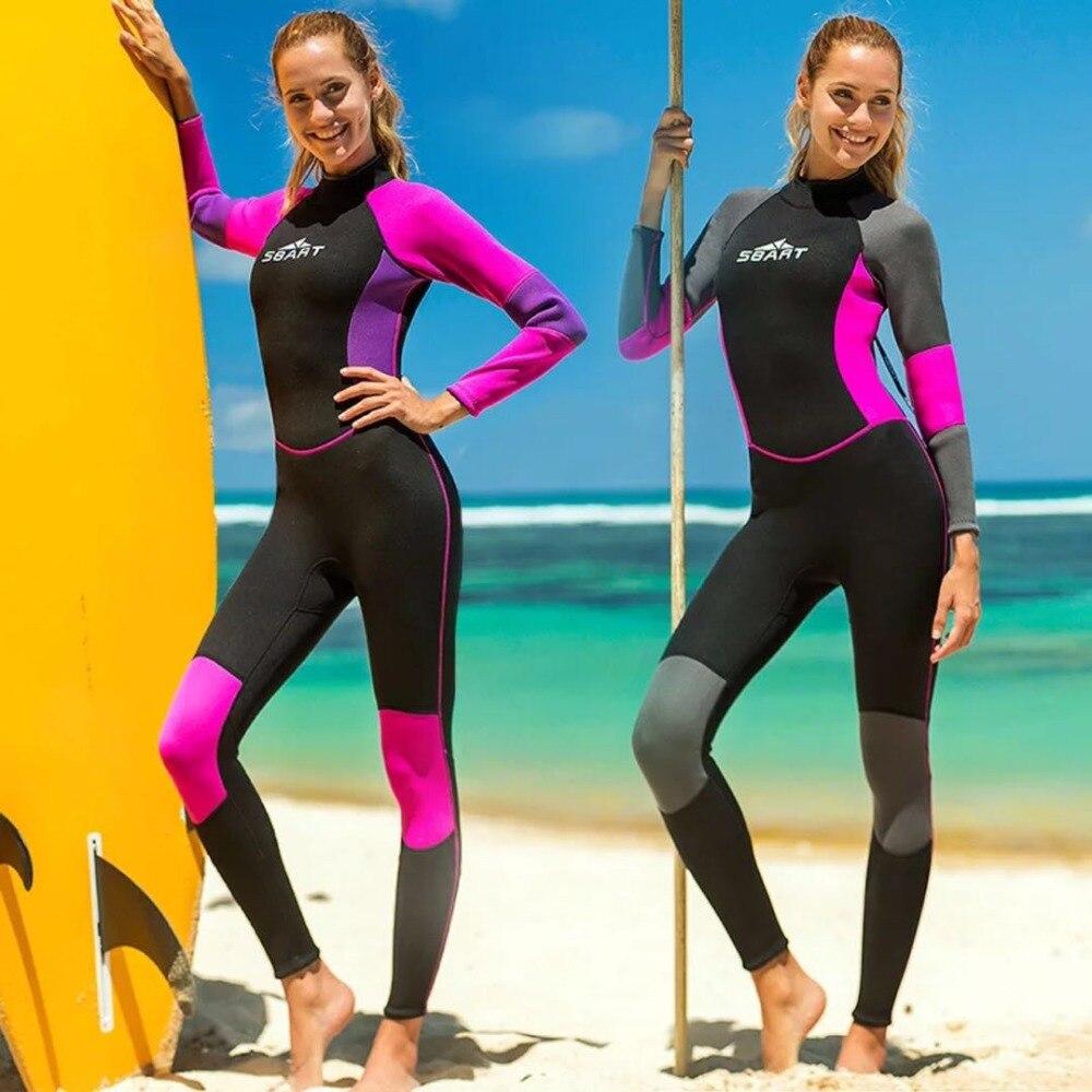 f7cee399af6c Mujeres completo trajes Premium de neopreno de 3mm manga larga pierna Zip  para buceo, natación ...