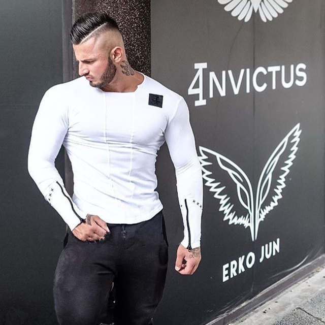 Brand Men fashion t-shirts 2017 spring Slim Fit t shirt Muscle Tops Leisure Bodybuilding Long Sleeve Fitness personality tees