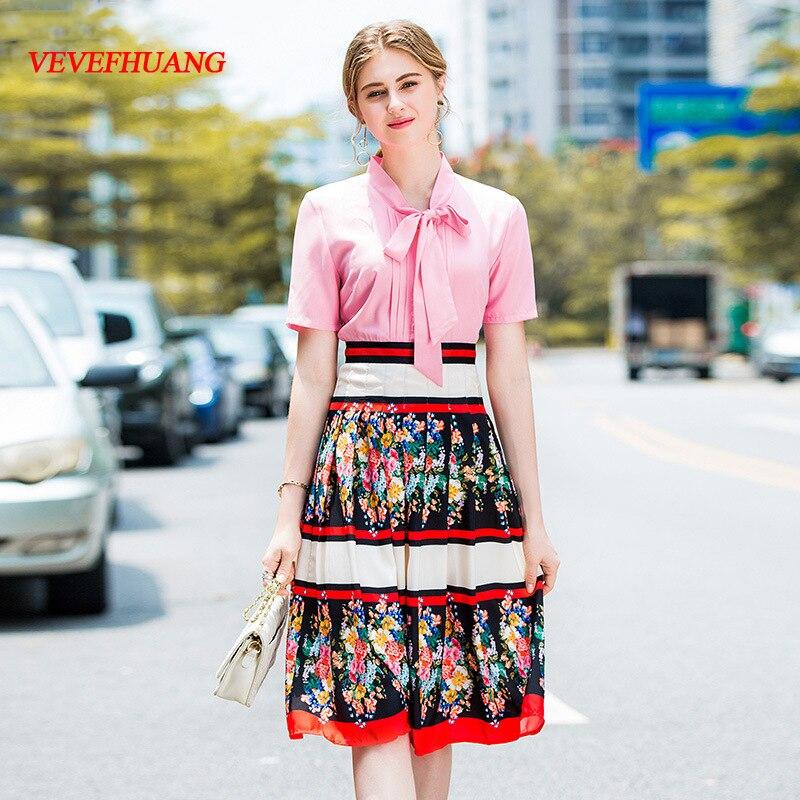 VEVEFHUANG 2018 Summer New Women Printed Dresses European Fashion Designer Bow Pink Short Sleeve Female Elegant Pleated Dress