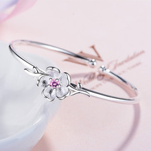 TJP New Fashion 925 Silver Bangles For Women Wedding Party Jewelry Charm Girl Bracelets Accessories Cute Cherry Blossoms
