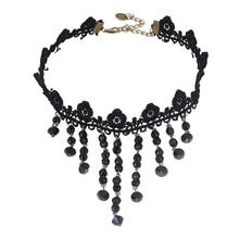 Black Gothic Choker with Crystals