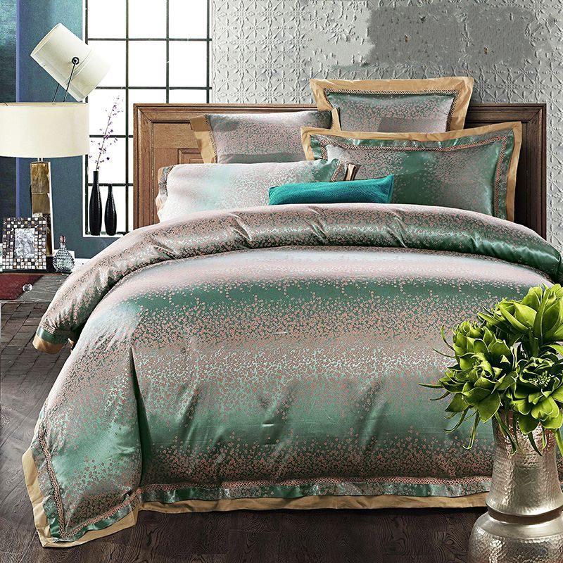 luxury silk satin duvet cover queen king size 4 6pcs green jacquard bedding set bedclothes bed. Black Bedroom Furniture Sets. Home Design Ideas