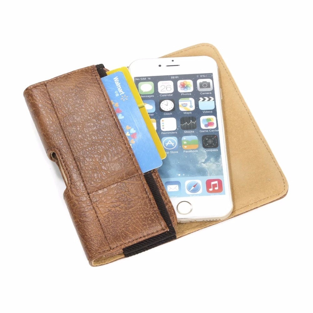 Fashion Outdoor Stone Pattern Belt Pouch PU Leather Phone Cases For All Smartphone Cover With Card slots Hook Loop 4.7-6.3 inch