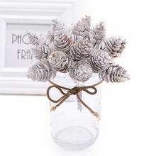 12/20pcs White Artificial Pine Nuts Cones Flowers Pineapple Grass for Wedding Christmas DIY Wreath Scrapbooking Decor