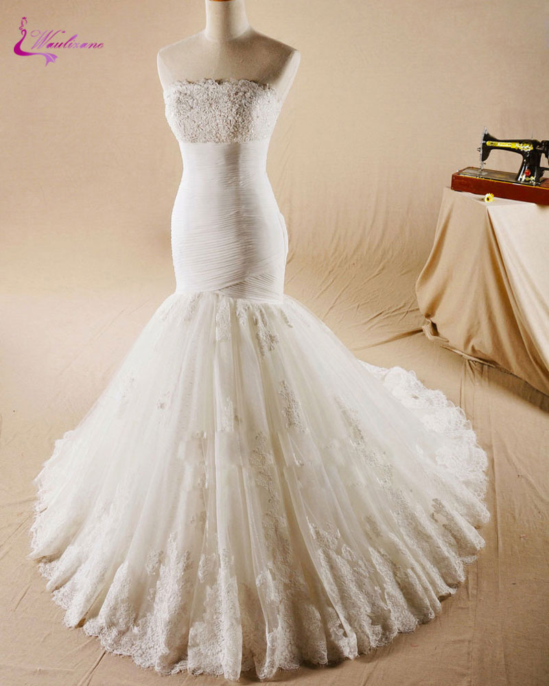 Strapless Mermaid Wedding Dresses: Waulizane Vintage Strapless Mermaid Bridal Gowns Appliques