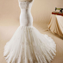 Waulizane Vintage Strapless Brush Train Wedding Dresses