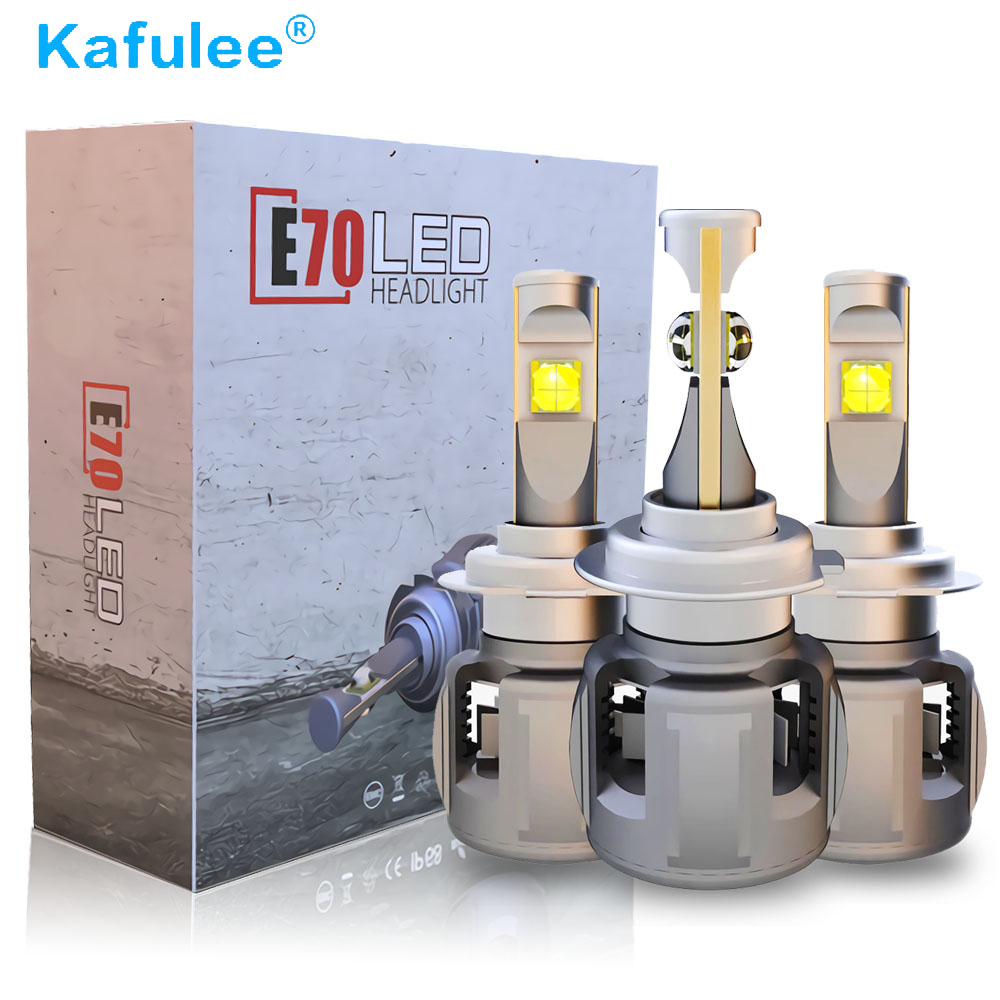 2 Pcs E70 h4 H1 Led Bulb HB4 HB3 Led H7 H11 D2S D1SCar Headlight Bulbs Voltage 12V Color Temperature 6000K Turbine cooling cool silver 2 pcs h11 led copper strips cooling r4 6000k 4800lm led lamp for car
