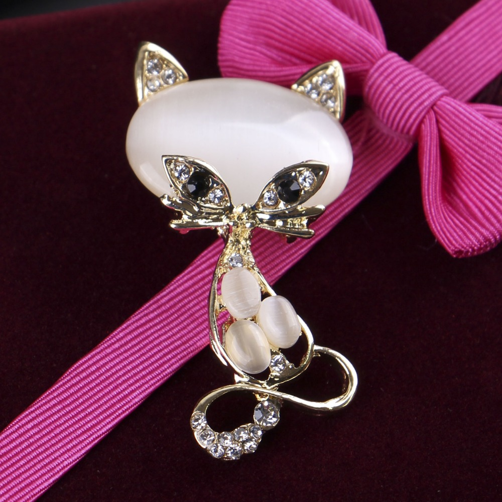 New Fashion Women Crystal Opal Lovely Cat Brooches Pin Wedding Party Dress Accessories Charm Clothes Sweater Jewelry
