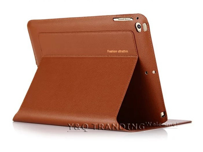 Ultrathin Cowhide Genuine Leather Case for Apple iPad Real Leather Business Stand Smart Cover for iPad  (14)