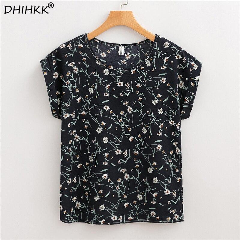 DHIHKK Women Chiffon Blouses Shirts 2018 Summer Short Sleeve Fashion Floral Print Blouse Ladies Female Top Tee Blusas Plus Size