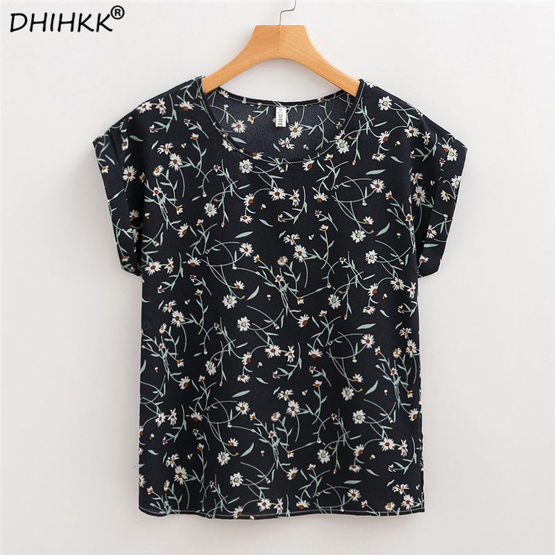 DHIHKK Women Chiffon   Blouses     Shirts   2018 Summer Short Sleeve Fashion Floral Print   Blouse   Ladies Female Top Tee Blusas Plus Size