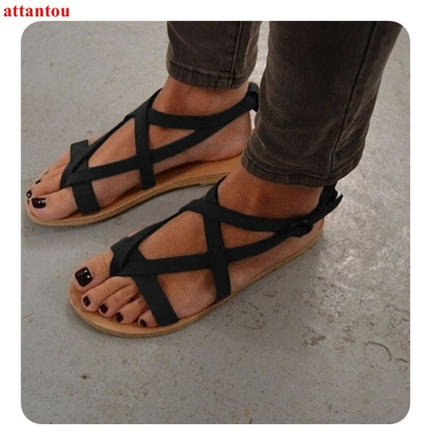 a7494c6c2 Woman sandals black suede Leather Summer open toe Flipflop flat shoes  female sand beach shoes cover heel back zip size 42 43