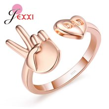 High Quality Adjustable 925 Sterling Silver Finger Rings Heart Design with ''DAD''Letters Rose Gold Anel Christmas Gifts(China)