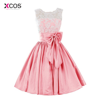 New Arrival Short Homecoming Dresses 2018 White Lace Pink Taffeta Bow Pleat Mini Juniors Graduation Homecoming Dress Cheap