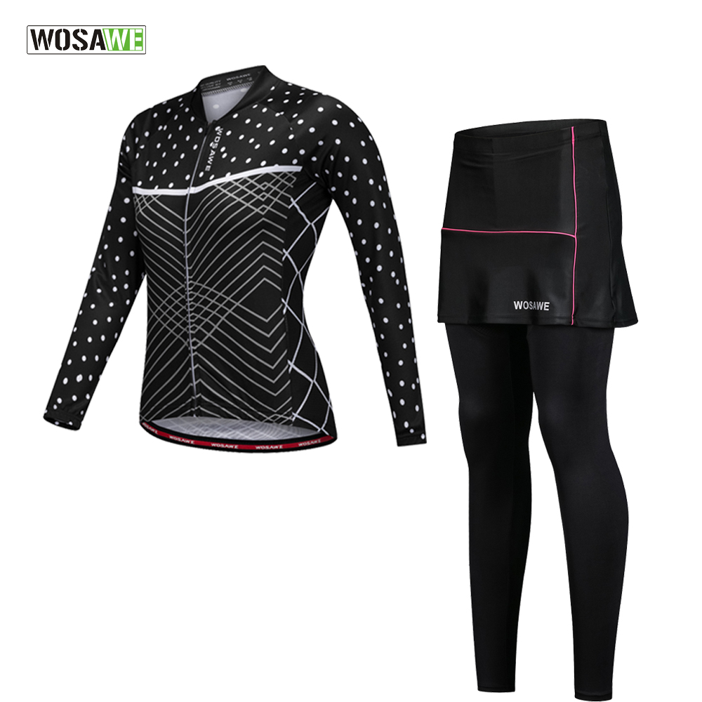WOSAWE Women Cycling Jersey Sets Breathable Mountian Bicycle Clothes Ropa Ciclismo MTB Bike Clothes Female long