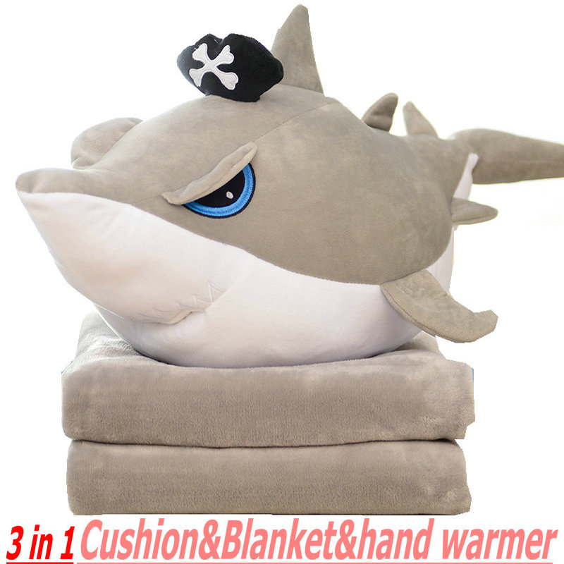 3 In 1 Shark plush Cushion hand warmer Stuffed Sea Animal Pillow Pirate Shark Flannel Blanket Birthday Kids Toy Sofa decorate