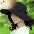 Especial gran sombrero de ala ancha 2016 primavera verano sombrero de Sun Anti ultravioleta Cap Bowknot transpirable malla interior Sombreros Mujer