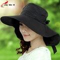 Especial grande chapéu com aba 2016 primavera verão chapéu de sol Anti Uv Cap Bowknot malha respirável dentro Sombreros Mujer
