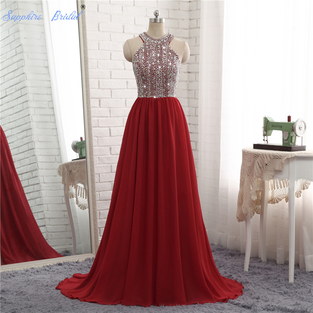 Sapphire Bridal Formal A Line Evening Dress Scoop Top Beaded Sparkly Long Evening Gowns Burgundy(China)