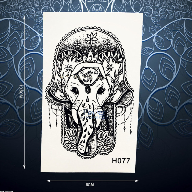 Creative Hamsa Hand Elephant Tattoo Stickers Waterproof Black Ink