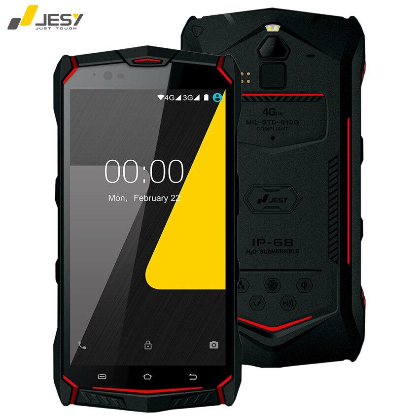 Jesy J9S IP68 Водонепроницаемый мобильный телефон 4 г Оперативная память 64 ГБ 6150 мАч Батарея 16MP Octa core NFC Беспроводной отпечатков пальцев 5.5 Android 7.0