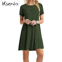 Ksenia 2017 Fashion Summer Dress Solid Loose Women Dress Casual Plus Size S 2XL Multi Color