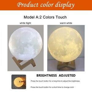 Image 4 - Светодиодный светильник с 3D принтом в виде Луны, перезаряжаемый с помощью USB, сенсорный выключатель, ночник, украшение для спальни, подарок на день рождения