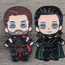 K322 Thor and Loki Pin Metal Brooches and Pins Enamel Pin for Backpack/Bag/Jeans Clothes Badge Brooch Jewelry 1PCS цена 2017