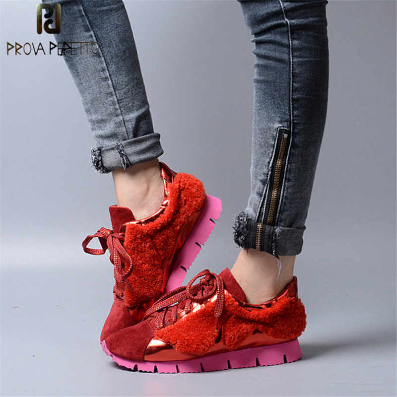 Prova Perfetto Frühling Fashion Echtes Leder Casual Frauen Schuhe Echt Wolle Pelz Starke Untere Lace-Up Flach Mixed Farbe schuhe
