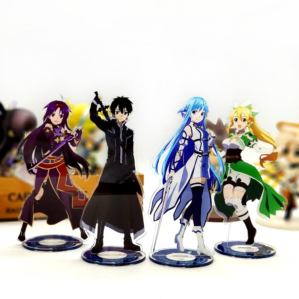 Love Thank You Sword Art Online Kirito Asuna Leafa Yuuki acrylic stand figure model double-side plate holder cake topper anime