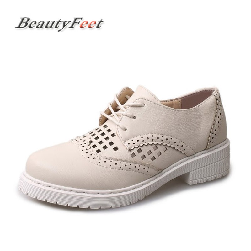 BeautyFeet Platform Shoes Oxfords Brogue PU Leather Flats Lace Up Women Shoes Creepers Vintage Hollow Casual Shoes Zapatos Mujer qmn women genuine leather platform flats women laser cut square toe brogue shoes woman oxfords women leather creepers 34 42