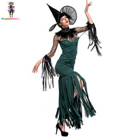 Beautiful Grand Sorceress Costume,Green Enchantress Halloween Tassel Dress For Adult Women,Lady Green With Costumes Size SMLXL