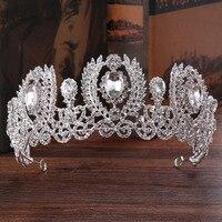 Gümüş Renk Avrupa Vintage Barok Gelin Saç Aksesuarları Için Balo Bantlar Rhinestone Kristal Tiara Düğün Taç Satış