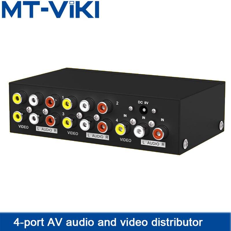 AV Splitter RCA Audio Video Splitter All the Way AV Audio Video Input 4 Channel AV Audio Video Output HDTV Projector MT-104AV