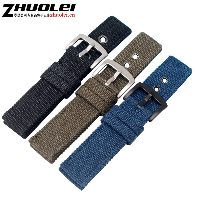 New arrivals coarse bracelet fabric in watchband bracelet for men strap watch 20mm 22mm black|army green blue outdoors nylon survival nylon bracelet with whistle army green
