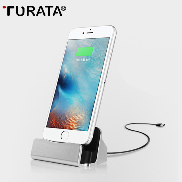 detailed look b63b8 0e298 US $3.43 |TURATA Charging Base Dock Station For iPhone X 7 6 6S USB Cable  Sync Cradle Charger Base For Android Samsung Xiaomi Stand Holder-in Mobile  ...