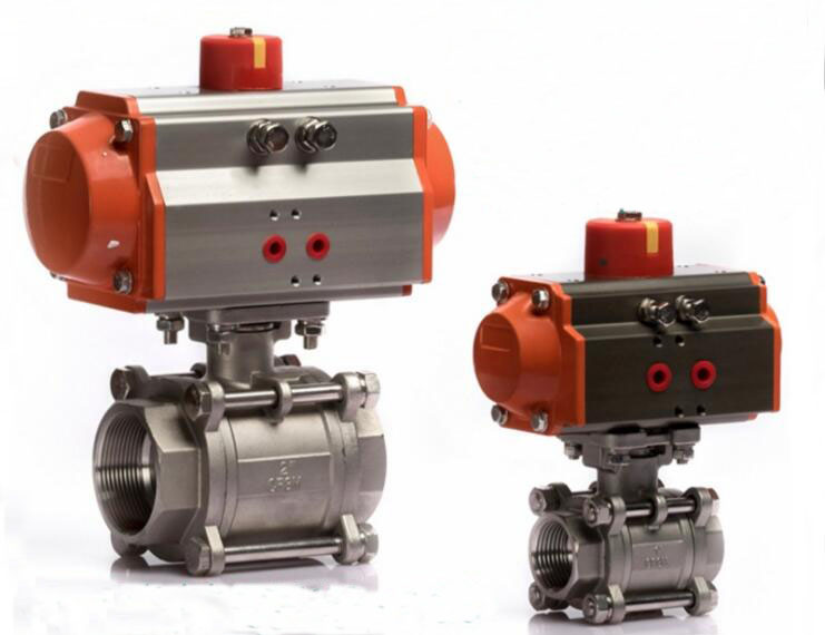 AT50 With DN20 Pneumatic Control 3/4 Stainless Steel Ball Valve dn15 50 1 2 2 pneumatic sanitary ball valve 3 way quick installed stainless steel ball valve double act at ball valve shanghai