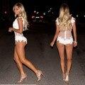 2016 Moda Sexy de Encaje Blanco Patchwork Buzos Playsuits Casual Mujeres Body Señora Monos Mamelucos Del Desgaste Del Club