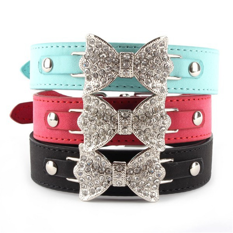 Dog Collar Bling Crystal Bow Leather Pet Collar Puppy Choker Cat Necklace XS S M H1