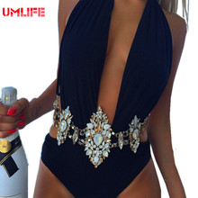 Rhinestone Diamond Swimwear Swimsuit For Women 2017 Female Sexy Halter Neck Crystal Bikini Set Black Swimming Bathing Suit