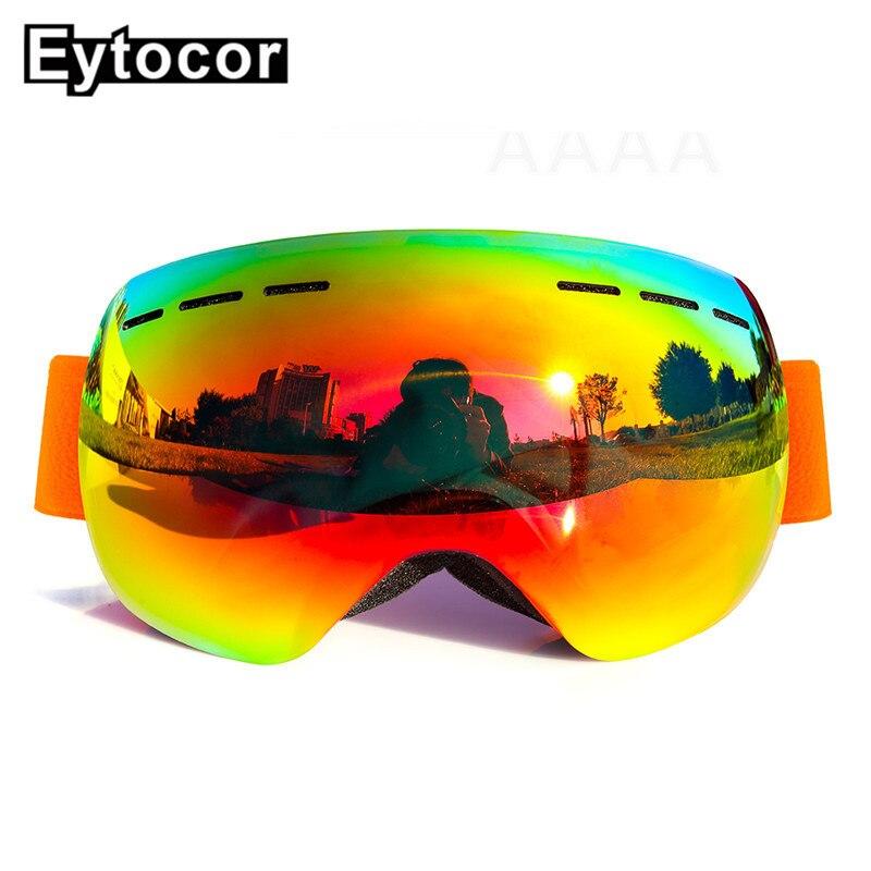 UV400 Multicolore Frame Lunettes De Ski Double Lentille Noir avec Magnétique Rapide-changement 2 dans 1 Lentille Ski lunettes de Soleil Ski grand Masque EYTOCOR