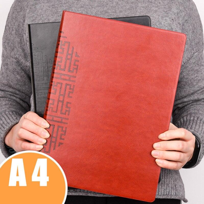 A4 Business Faux cuir Agenda 176 feuilles épaissir école bureau planificateur cahier bureau réunion Record livre étanche Filofax
