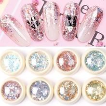 8 ชิ้น/เซ็ต Mermaid 3D Glitter เล็บ Flakes หกเหลี่ยมที่มีสีสัน Sequins UV GEL ประกายผงฝุ่น DIY Charm Glitter Flakes