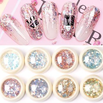 8 sztuk zestaw syrenka 3D Glitter płatki do paznokci sześciokąt kolorowe cekiny lakier żelowy uv musujące proszek pył DIY urok Glitter płatki tanie i dobre opinie MAFANAILS Paznokci brokat MT09 8pcs set Sequins Holographic Mermaid Charms Nails Glitter 1g box 3D Nail Glitter Sequins